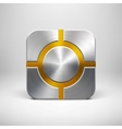 Technology App Icon Template with Metal Texture vector image