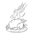 Cartoon image of cooked turkey vector image