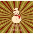 Snowman in Christmas card vector image vector image