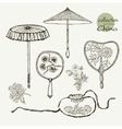 Collection womens old fans and umbrellas vector image