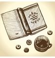 book tea and sweets vector image