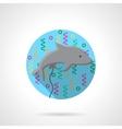Gray dolphin balloon flat round icon vector image