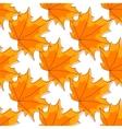 Autumnal orange maple leaves seamless pattern vector image