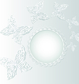 background with butterflies and white circle vector image