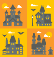 Flat design haunted house set vector image