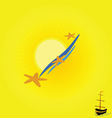 background beach with boat vector image