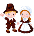 thanksgiving day pilgrim couple vector image