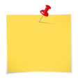 Yellow sticky notes and pin vector image