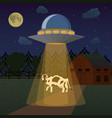 cartoon aliens spaceship or ufo takes cow vector image