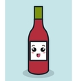 cartoon bottle ketchup facial expression isolated vector image