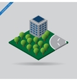 isometric city - trees building and road vector image