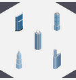 isometric construction set of building skyscraper vector image