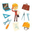 professional builder and architect and his tools vector image