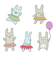 set of cute little cartoon hares set of cute vector image