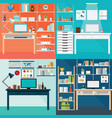 set of modern home office interior vector image