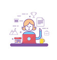 teamwork and woman with laptop media technology vector image