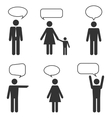 people white icons with speech bubbles vector image vector image