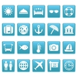Travel icons on blue squares vector image