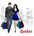 woman and man with shoping bags vector image