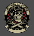 vintage biker skull with crossed monkey wrenches vector image vector image