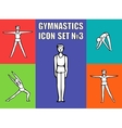 Boy gymnast athlete performs a variety exercises vector image