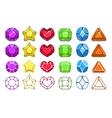 Colorful cartoon gem icons set vector image