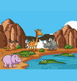 many wild animals by pond vector image