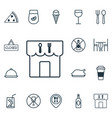 set of 16 food icons includes dessert restaurant vector image