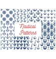 Nautical patterns set with anchor icons vector image vector image