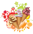Different fruit sorbet vector image