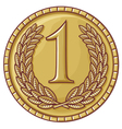 first place medal with laurel wreath vector image vector image