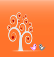Swirl tree and birds vector image vector image
