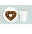 Chocolate doughnut and cup with copyspace vector image vector image