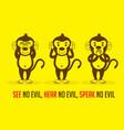 three monkeys see hear speak vector image