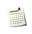 2014 paper calendar for January vector image