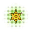 Golden sheriff star badge icon comics style vector image