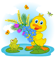 duckling with flowers vector image vector image