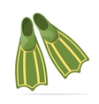 Green flippers for diving - vector image