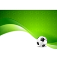Green wavy soccer texture background with ball vector image