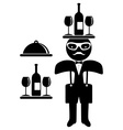 Hipster man Bow tie Waiter vector image