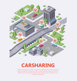 isometric carsharing map 3d of vector image