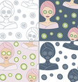 Seamless patterns with Thai massage spa elements vector image