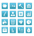 Business icons on blue squares vector image vector image