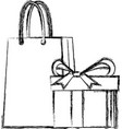 shopping gift box paper bag market commerce vector image