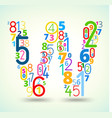 Letter W colored font from numbers vector image