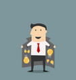 Innovative businessman in jacket selling ideas vector image vector image