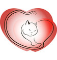 Cat on a background of red hearts EPS10 vector image