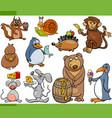 animals and food cartoon set vector image