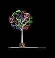 Art tree design with watercolor waves vector image