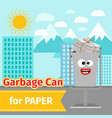 paper trash can with monster face vector image